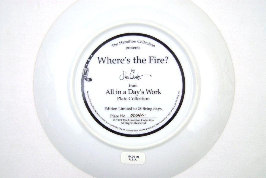 Hamilton Collection WHERE'S THE FIRE Collector Plate