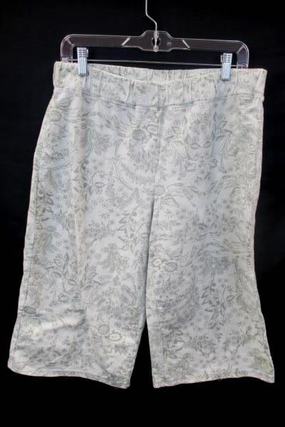 Capris by L.A. Movers White w/ Green Floral Women's Size XL