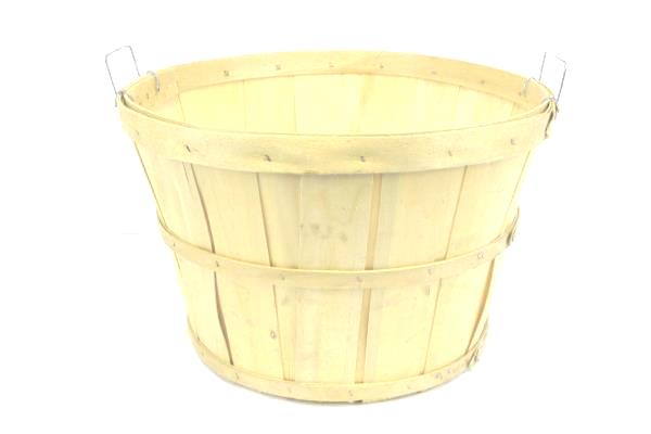 Apple Picking Fruit Shaved Wood Banded Basket Two Handles Classic