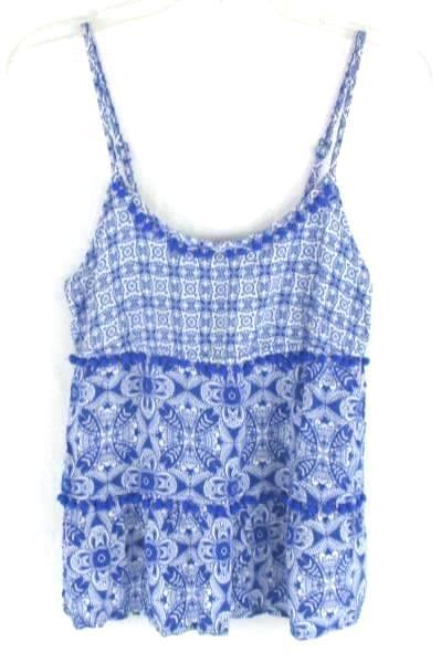 Women's I'm In Love With Derek Sleeveless Blue Floral Print Tank Shirt Size M
