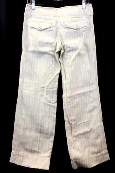 Lux Women's Beige Pants Size 5 Button Zipper Clasp Fly Striped 100% Cotton