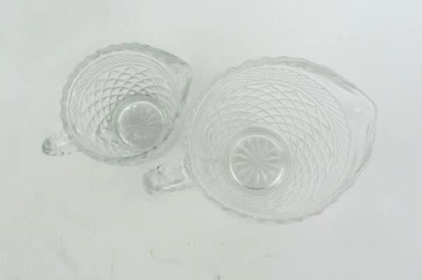 2 Clear Pressed Glass Diamond Pattern Creamer Pitchers