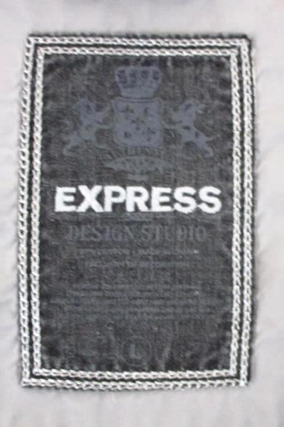 Men's Express Size Large Light Gray Graphic Button Casual Dress Shirt