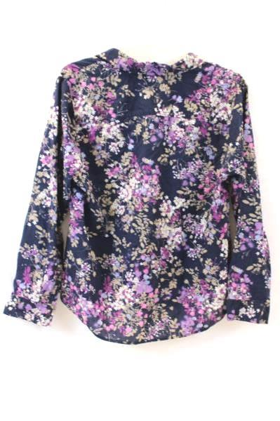 Croft & Barrow Women's Button Up Shirt Dark Blue Floral Long Sleeve Size XLP