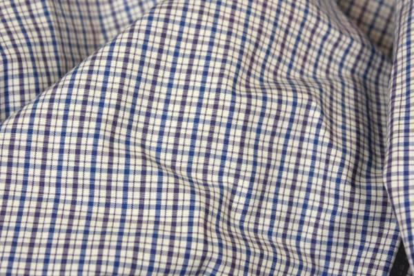 Hathaway Men's Button Up Short Sleeve Dress Shirt Blue Purple Plaid Size Large