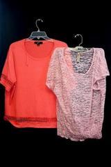 Lot Of 2 Eye Shadow & GNW Women's Blouse Short Sleeve Dark Pink Netting Size L
