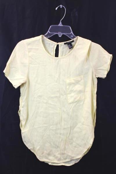 Forever 21 Women's Blouse Yellow Pocket Size Medium