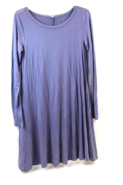 Lot of 2 Women's HiMone Dresses Solid Purple Blue Long Sleeve Size S