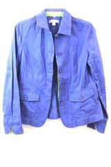 Coldwater Creek Women's Blue Green Floral Button Up Blazer Size 10
