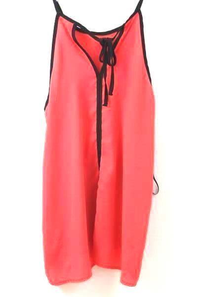 Tank Top Blouse By Monteau Neon Pink & Black Women's Size Small