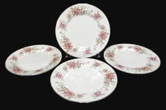 "Set of 4 Bread Dessert Plates 6.5"" Spring Time White with Platinum Gilt Primrose"