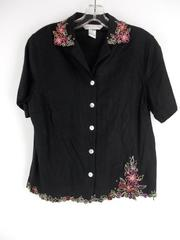 Napa Valley Black Floral Embroidered Button Up Career Blouse Linen Blend Sz M