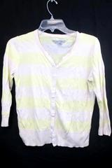 Woman's Button-Up Shirt Old Navy Tan & Yellow Striped Size S