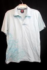 Men's Polo Shirt by Quiksilver Light Blue w/Darker Blue Water Designs Size Large