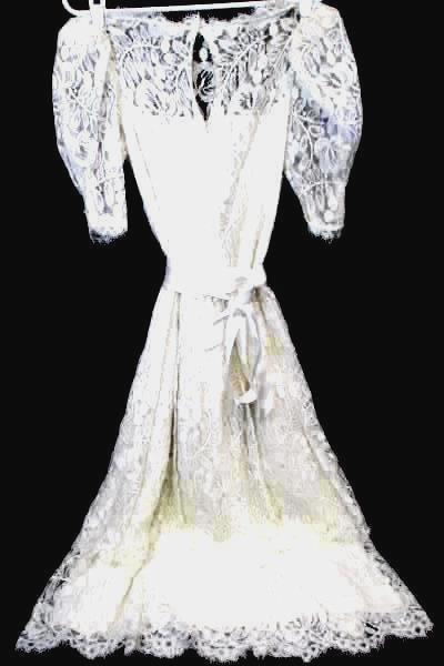 Wedding Dress by Dessy Creations  White Laced Floral Women's Size 4
