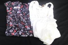 Women's Lot of 2 Blouse Tank Top Eye Shadow Romy Cream Purple Floral Size L