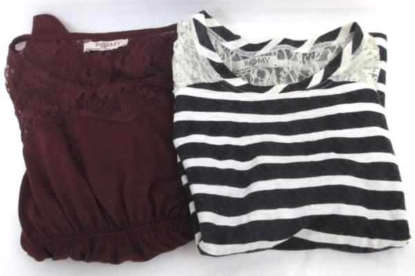 Lot of 2 Romy Women's Tops Blouse Black White Striped Burgundy Lace Size M