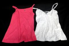Lot of 2 Girls Tank Top By Beautees & Crashone Pink & White M/10-12y