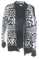 Cardigan Sweater Mossimo Black White Design Knitted Women's Size L