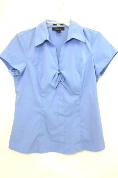 Style & Co. Solid Blue w/ Buckle on Chest Women's Size 8 Shirt Top