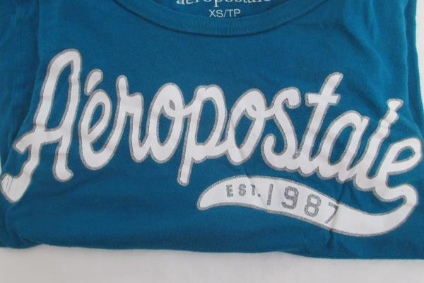 Aeropostale Solid Blue w/ White Writing Women's Size XS T Shirt Top Casual