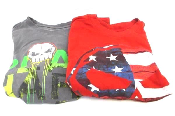 Lot of 2 Shirts Red And Gray No Fear Size M Youth 100% Cotton