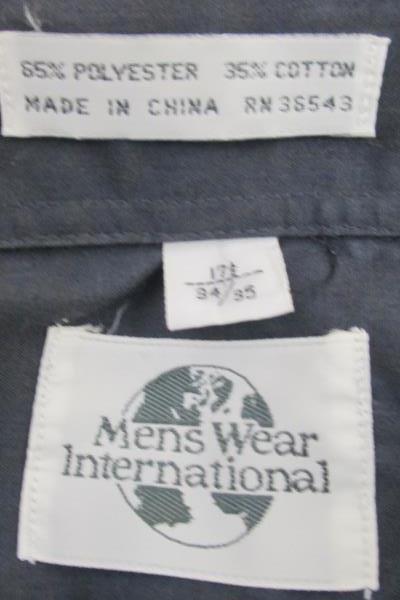 Men's Wear International Men's Button Up Long Sleeves Cuff Shirt Blue Size 34/35