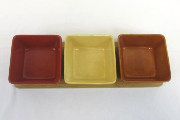 Decorative Hand Painted Kitchen Square Bowls With Wooden Base Red Brown Yellow