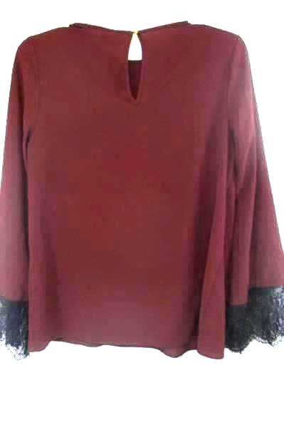Long Sleeve Blouse Mossimo Solid Maroon w/Laced Black Cuffs Women's Size Small