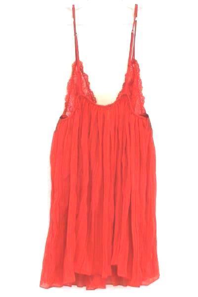 VICTORIA'S SECRET Red Lace Camisole Lingerie Spaghetti Strap Babydoll Sz Medium