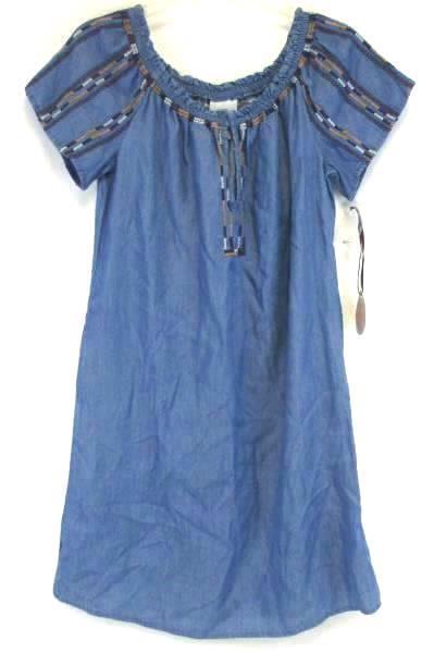 KNOX ROSE Women's Blue Smock Top Dress Off The Shoulder Size XS With Tags