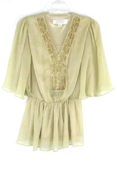 Women's American Glamour Cream Blouse & Skirt 2 Piece Dress Size XS