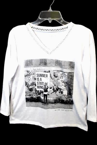 Lot of 2 Bogo Great NW Indigo Women's Shirts White Black Green Long Sleeve Sz S