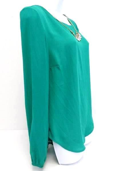 Sheer Turquoise Blouse Top Shirt Embellishment w/ Necklace Lace Back Size Medium
