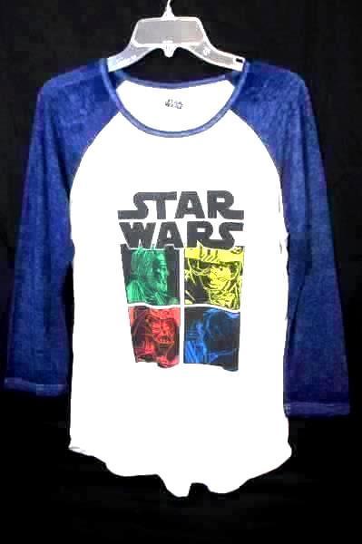 STAR WARS Blue White Long Sleeve T-Shirt Force Awakens Men's Size XL