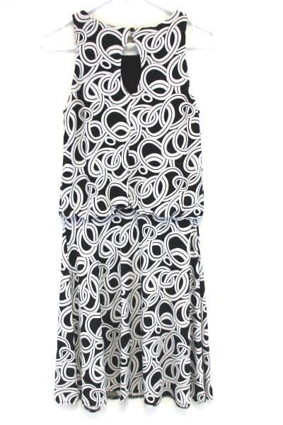 GNW Black White Swirl Keyhole Back Empire Loose Waist Dress Cocktail Size 4