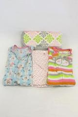 Lot of 2 Baby Blankets Fleece and 2 One Piece Pajama Sleepers Girls 2T 24 Month