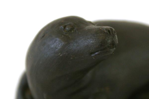 "Ceramic Sea Lion Figurine Solid Black 3"" Long"