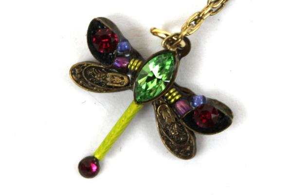 "Firefly Brass Jeweled Necklace Dragonfly Design Marked 18"" Beautiful Intricate"