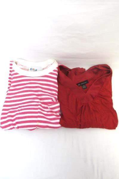 Lot of 2 Women's Tops by Knit Link & I.N.K Red Pink & White Stripes Size Medium