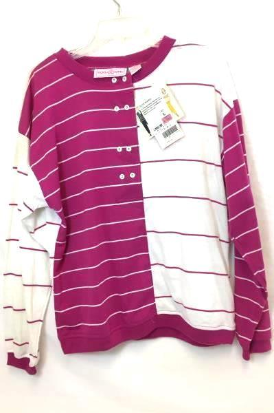 Lot of 2 T-Shirts By Goolagong White Green Pink Stripes Women's Size Large