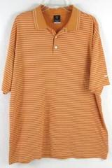 NIKE Golf Polo Dry-Fit Shirt White Orange Striped Short Sleeve Men's Size XL