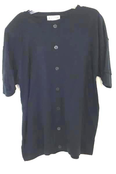 Button Up Shirt By Michael Carrie Black Size Women's L
