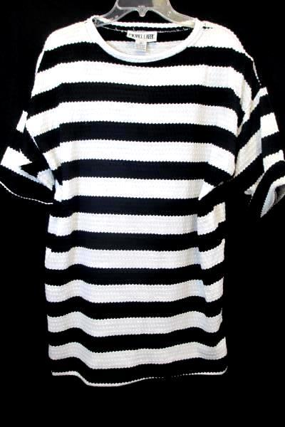 Lot of 2 Shirts By Michael Carrie White Black Stripes Blue Women's Size M