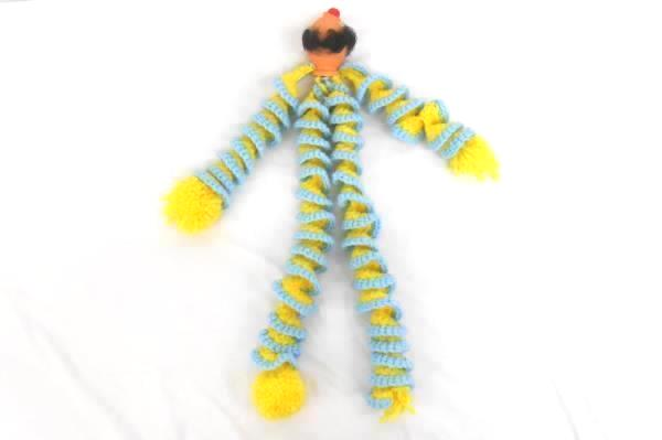 Vintage Hand Knit Clown Doll Knit Legs Arms Plastic Head Granny Made