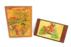 Set of 2 Wood Vintage Antique Children Decoupage Singing Friends Hang Display