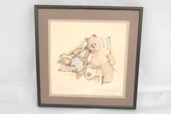 "Vintage 1988 Signed Dot Art Teddy Bear ""Buddies"" Frame Picture Draw Art"