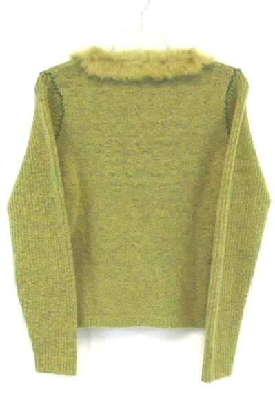 AVALIN Women's Long Sleeve Knit Green Faux Fur V-Neck Sweater Size Small