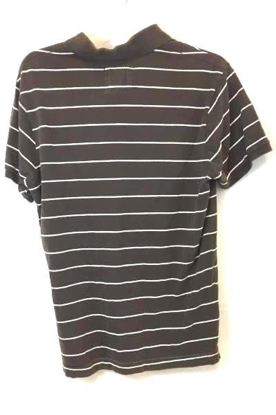 Mossimo Button Up Shirt Collared Brown w/ White Stripes V-Neck Boy's Size Medium