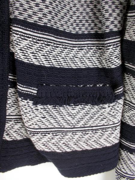 LOFT Navy White Stripe Cotton Jacquard Weave Fringe Cardigan Sweater LARGE ~ NWT